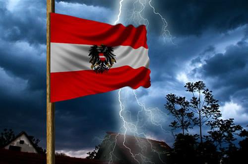 Halbmast Fahne 1. Mai rot-weiß-rot