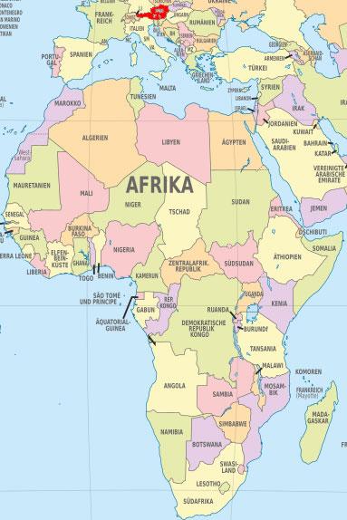 Größenvergleich Afrika (30.221.532 km² / 1,1 Mrd. EW) und Österreich (83.880 km² / 8,5 Mio. EW) | ©: TUBS