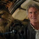 Szenenbild aus Star Wars VII: The Force Awakens Chewbacca (Peter Mayhew) and Han Solo (Harrison Ford) Ph: Film Frame / ©Lucasfilm 2015