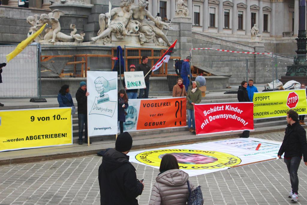 Demo vor Parlament am Weltdownsyndromtag