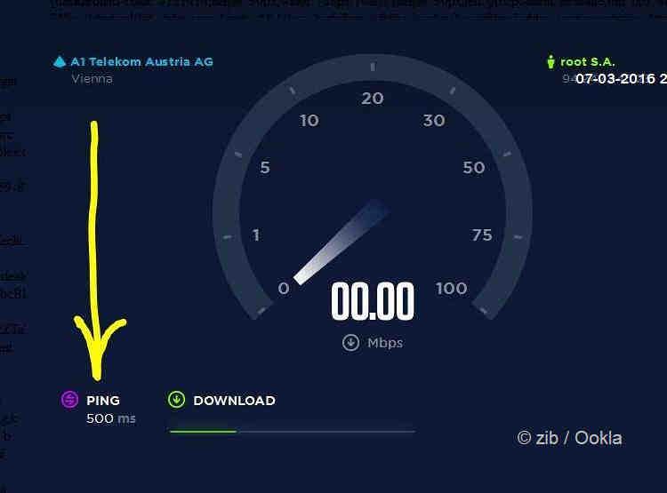 500ms PING und Abbruch des Downloads: Das ist kein Speedtest mehr, das ist ein Armutszeugnis für die A1 / TELEKOM! | © zib / Ookla