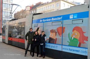 Techniker/innen verzweifelt gesucht? von links: Andreas Schwaiger, Helene Czanba, Stefan Hörcsöky   © TU Career Center