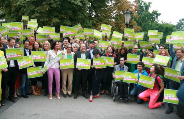 Wahlkampfauftakt der Grünen zur Nationalratswahl 2013 in Österreich