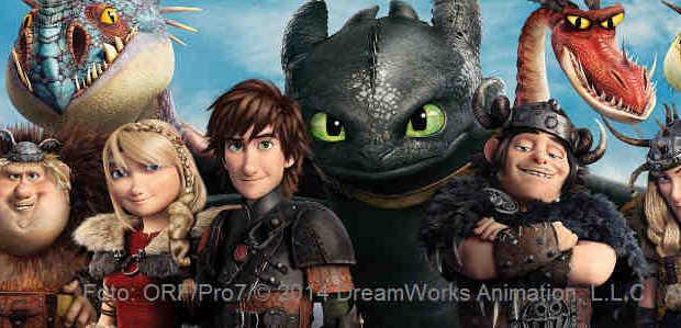 Die Wikinger haben mit den Drachen Frieden geschlossen und vergnügen sich bei gemeinsamen Wettbewerben | Foto: ORF/Pro7/© 2014 DreamWorks Animation, L.L.C. All rights reserved