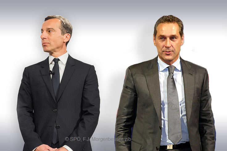 Bundeskanzler Christian Kern und HC. Strache | Foto Kern: SPÖ Presse und Kommunikation Lizenz / Quelle / Foto Strache: Franz Johann Morgenbesser Lizenz / Quelle / mon: zib