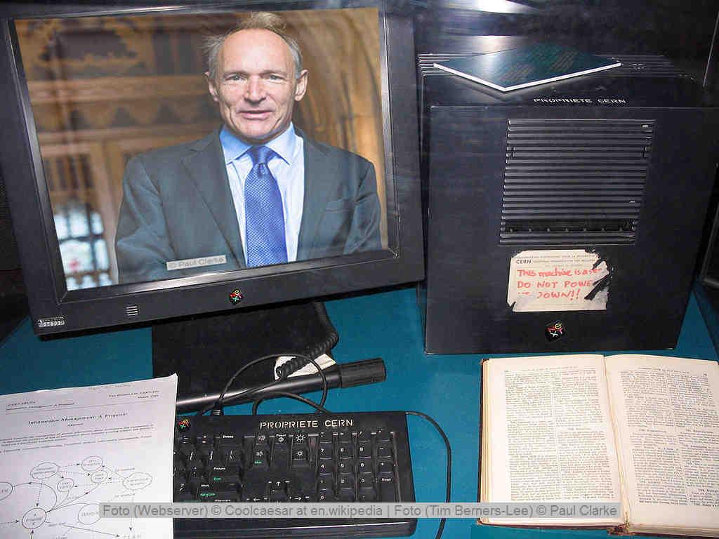 Sir Tim Berners-Lee, der Erfinder des Word Wide Web und sein erster Webserver
