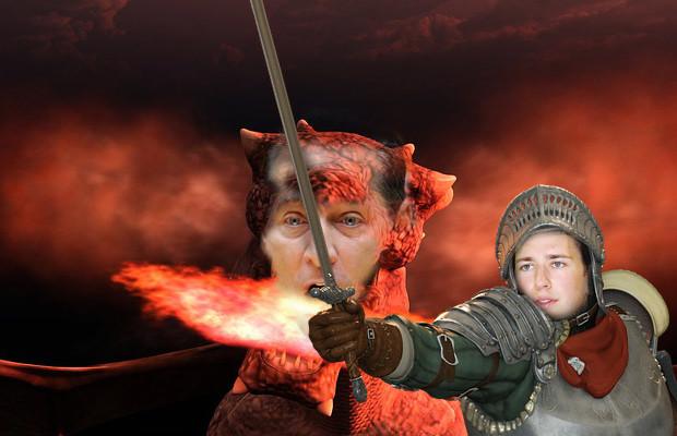 Kurz, der Ritter der gegen den wütenden Drachen HC Strache kämpft