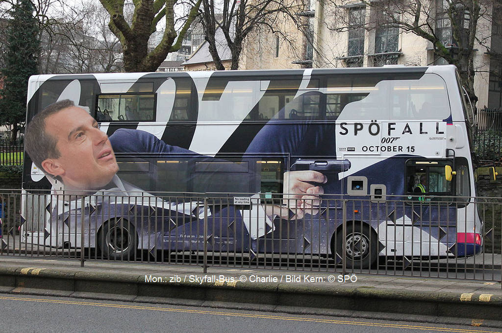 Mission SPÖFALL: Agent Kern versucht die ganz linken Agenten aus den eigenen Reihen zu entarnen ... | Mon.: zib / Skyfall-Bus: © Charlie / Bild Kern: © SPÖ