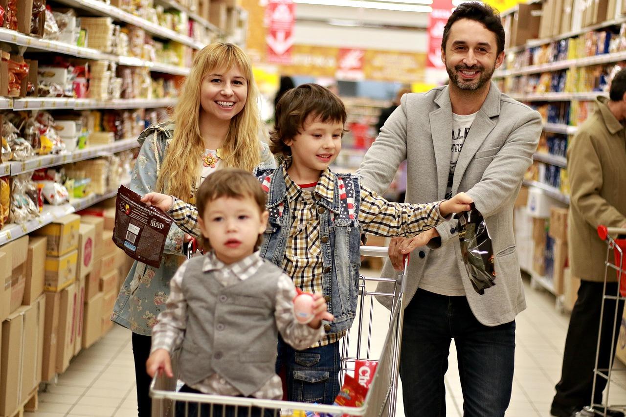 Einkaufen, Markt, Familie, Shopping