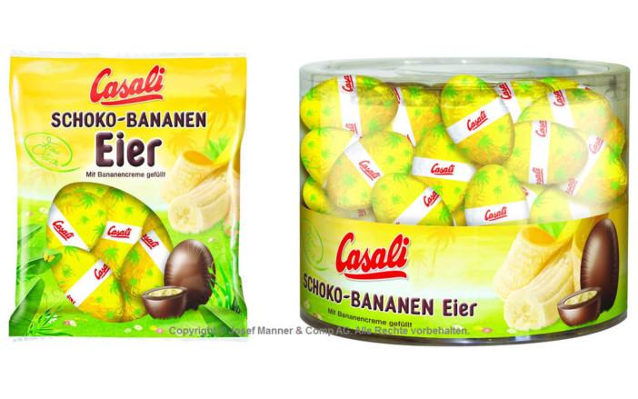 Die 6 Stück Packung Schokolade-Eier mit Bananencreme gefüllt und die 80 Stück Schokolade-Eier mit Bananencreme gefüllt   Copyright © Josef Manner & Comp AG. Alle Rechte vorbehalten.