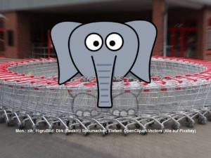 Shopping Wahnsinn Grenzerfahrung Einkauf Supermarkt Einkaufswagen Elefant Babyelefant | Mon.: zib; HigruBild: Dirk (Beeki®) Schumacher; Elefant: OpenClipart-Vectors (Alle auf Pixabay)